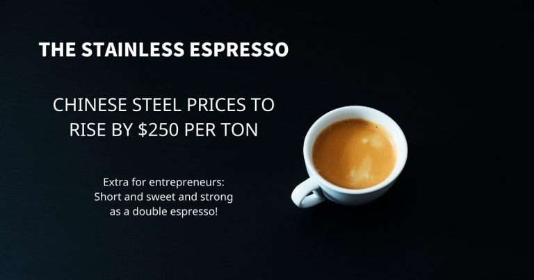 Stainless Espresso Chinese steel prices to rise by $ 250 per ton