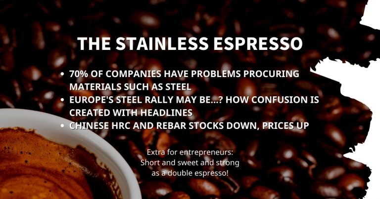 Stainless Espresso: 70% of companies have problems procuring materials such as steel